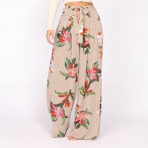 Wide Leg Floral Woven Pants
